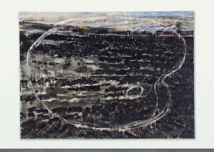 Lot 19 B Anselm Kiefer (B. 1945) Malen = Verbrennen oil on burlap 86 3/4 x 118 in. (220.3 x 300 cm.) 	estimate $1,200,000 - $1,800,000  PRICE REALIZED USD 2,407,500