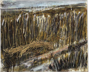 Lot 21 B Anselm Kiefer (B. 1945) Dein Goldenes Haar, Margarete oil, charcoal, shellac and straw on canvas 46 1/2 x 57 1/8 in. (118 x 145 cm.) 	estimate $800,000 - $1,200,000  PRICE REALIZED USD 1,027,500