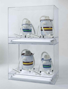 Lot 26 B Jeff Koons (B. 1955) New Shelton Wet/Drys 10 Gallon, New Shelton Wet/Drys 5 Gallon... four vacuum cleaners, acrylic, fluorescent lighting 82 x 52 x 28 in. (208.3 x 132.1 x 71.1 cm.) 	estimate $7,000,000 - $9,000,000  PRICE REALIZED USD 7,863,500