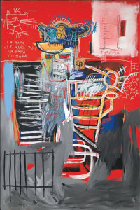 Lot 55 B Jean-Michel Basquiat (1960-1988) La Hara acrylic and oilstick on wood panel 72 x 47 3/4 in. (182.9 x 121.3) 	estimate $22,000,000 - $28,000,000  PRICE REALIZED USD 34,967,500