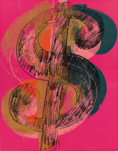 Lot 56 B Andy Warhol (1928-1987) Dollar Sign synthetic polymer and silkscreen inks on canvas 90 x 70 in. (229 x 178 cm.) estimate $6,000,000 - $8,000,000  PRICE REALIZED USD 7,191,500