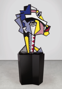 Lot 59 B Roy Lichtenstein (1923-1997) Expressionist Head painted and patinated bronze with painted wooden base sculpture: 55 x 41 x 18 in. (139.7 x 104.1 x 45.7 cm.) base: 32 x 23 x 30 3/8 in. (81.3 x 58.4 x 77.1 cm.) 	estimate $2,500,000 - $3,500,000  PRICE REALIZED USD 3,127,500