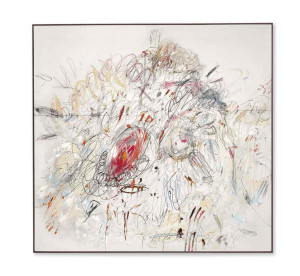 Lot 6 B Cy Twombly (1928-2011) Leda and the Swan oil, lead pencil and wax crayon on canvas 75 1/4 x 78 3/4 in. (191 x 200 cm.) estimate $35,000,000 - $55,000,000  PRICE REALIZED USD 52,887,500