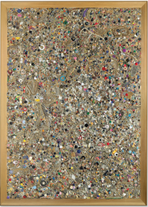 Lot 63 B Mike Kelley (1954-2012) Memory Ware Flat #16 paper pulp, tile grout, acrylic, miscellaneous beads, buttons and jewelry on wood panel 85 x 61 x 5 in. (215.9 x 154.9 x 12.7 cm.) estimate $2,200,000 - $2,800,000  PRICE REALIZED USD 2,887,500