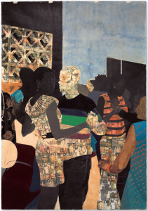 Lot 64 B Njideka Akunyili Crosby (B. 1983) I Refuse to be Invisible ink, charcoal, acrylic and transfers on paper 117 3/4 x 82 in. (300 x 208.2 cm.) 	estimate $1,500,000 - $2,000,000  PRICE REALIZED USD 2,647,500