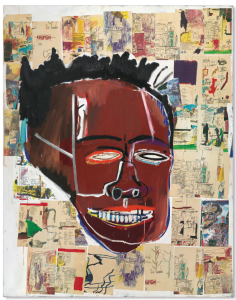 Lot 65 B Jean-Michel Basquiat (1960-1988) Elaine acrylic, oilstick and Xerox collage on canvas 86 x 68 in. (218.5 x 172.5 cm.) 	estimate $5,000,000 - $7,000,000  PRICE REALIZED USD 5,959,500