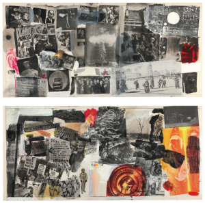 Lot 71 B Robert Rauschenberg (1925-2008) Drawings for Dante's 700th birthday crayon, graphite, acrylic, gouache and silkscreen inks on Strathmore board, in two parts each: 15 x 31 1/2 in. (38.1 x 81 cm.) 	estimate $800,000 - $1,200,000  PRICE REALIZED USD 2,887,500