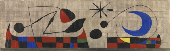 Dickinson Mur de la Lune (The Wall of the Moon) Joan Miró (Barcelona 1893-1983 Palma de Mallorca) Gouache, watercolour, ink and pencil on paper laid on Masonite 22.9 x 74.6 cm Engraved in lithograph, edition of 300 1955 This is the maquette for the UNESCO ceramic mural.