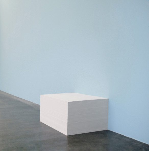 """Felix Gonzalez-Torres """"Untitled"""" (Girlfriend in a Coma), 1990 Paint on wall, embossed paper, endless copies"""