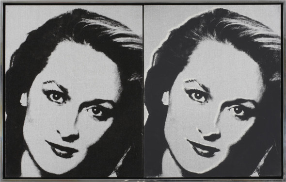 Tina Kim Gallery Meryl Streep Andy Warhol (Pittsburgh 1928-1987 Manhattan) Acrylic and silkscreen on two canvases 50.6 x 40.5 cm (each canvas) Stamped by Estate and Foundation on verso and marked with estate numbers P050.506 and P050.508