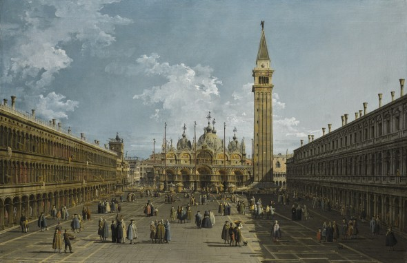 Bernardo Bellotto VENICE 1722 - 1780 WARSAW VENICE, PIAZZA SAN MARCO LOOKING EAST TOWARDS THE BASILICA oil on canvas 61 x 92.7 cm.; 24 x 36 1/2  in.LOT SOLD. 2,521,250 GBP