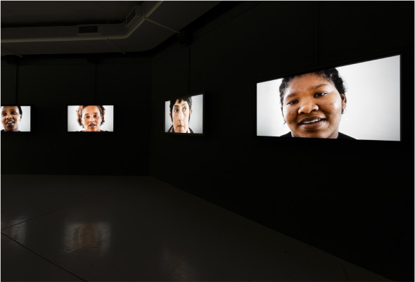 Gabrielle Goliath (Sud Africa) Personal Accounts installation view 2013, 5-channel video installation  PAC Milano