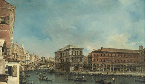 Francesco Guardi (Venice 1712-1793), Venice: the Rialto Bridge with the Palazzo dei Camerlenghi. Oil on canvas, (119.7 x 204.3 cm). Sold for: £26,505,000 in Old Masters Evening Sale on 6 July 2017 at Christie's in London