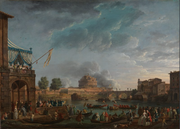 Claude-Joseph Vernet Artist dates1714 - 1789 Full titleA Sporting Contest on the Tiber at Rome Date made1750 Medium and supportOil on canvas Dimensions99.1 x 135.9 cm Inscription summarySigned; Dated Acquisition creditPresented by Lady Simpkinson, 1853 Inventory numberNG236 Location in GalleryRoom 33