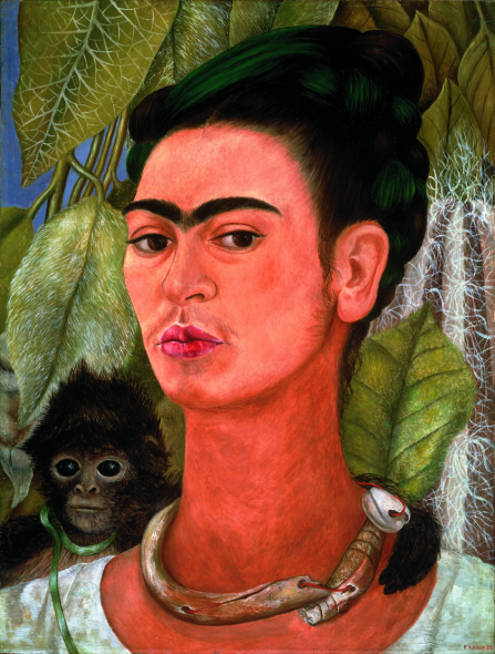 Autore: Frida Kahlo Titolo: Self-Portrait with Monkey Anno: 1938 Tecnica: Oil on Masonite Dim: cm 40.64 x 30.48 cm Prestatore: Collection Albright-Knox Art Gallery; Bequest of A. Conger Goodyear, 1966 (1966:9.10) Photo Tom Loonan Crediti: © Banco de México Diego Rivera Frida Kahlo Museums Trust, Mexico, D.F. by SIAE 2017