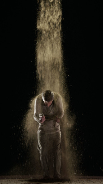 Bill Viola, Earth Martyr, 2014, Color high-definition video on flat panel display mounted vertically on wall.