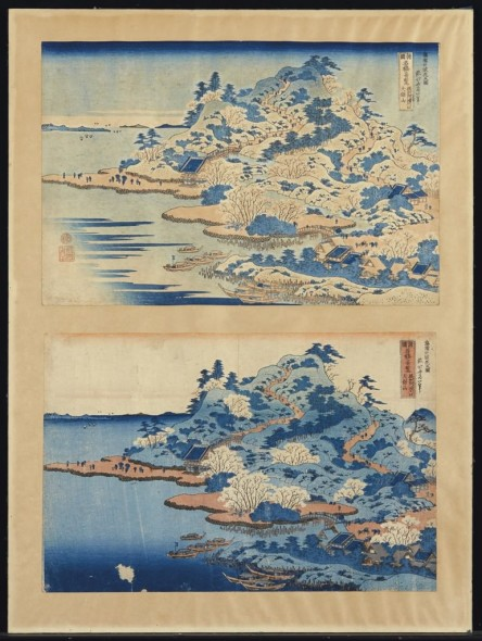 Two prints by Hokusai, estimated at $1,500–2,000.