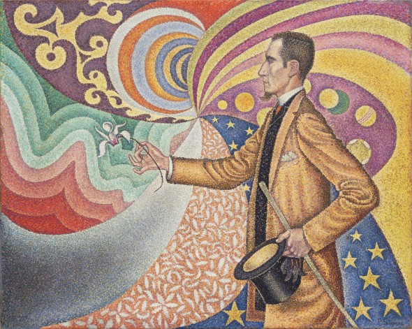 Paul Signac Opus 217. Against the Enamel of a Background Rhythmic with Beats and Angles, Tones, and Tints, Portrait of M. Félix Fénéon in 1890 1890