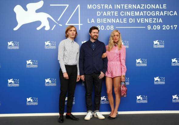 Director Andrew Haigh (C) poses with actors Chloe Sevigny (R) and Charlie Plummer during a photocall for the movie Lean on Pete at the 74th Venice Film Festival in Venice, Italy September 1, 2017. REUTERS/Alessandro Bianchi