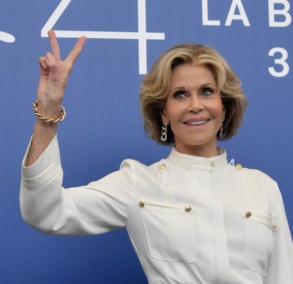 "US actress Jane Fonda attends the photocall of the movie ""Our Souls at Night"" presented out of competition during the 74th Venice Film Festival on September 1, 2017 at Venice Lido.  Jane Fonda and Robert Redford will be honored with Golden Lions for Lifetime Achievement at the 74th Venice International Film Festival today at the Palazzo del Cinema. After the awards ceremony, the festival will screen the world premiere of Netflix film Our Souls at Night by Ritesh Batra, starring Fonda and Redford  / AFP PHOTO / Tiziana FABI        (Photo credit should read TIZIANA FABI/AFP/Getty Images)"