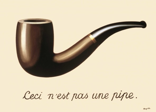 René Magritte, The Treachery of Images (This is Not a Pipe), 1929, Los Angeles County Museum of Art (LACMA), purchased with funds provided by the Mr. and Mrs. William Preston Harrison Collection © 2017, Succession Magritte c/o SABAM