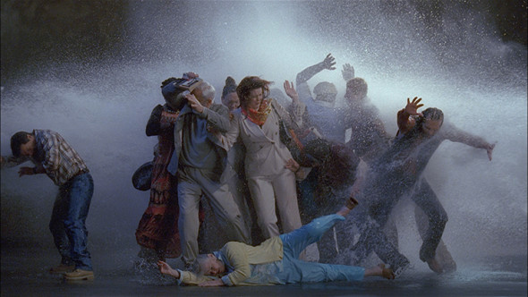 Bill Viola,Tempest (Study for the Raft), 2005. Color high-definition video on flat panel display mounted on wall. 66 × 109 × 10,2 cm / 26 × 42 7⁄8 × 4 in. 16:50 min. Photo: Kira Perov.