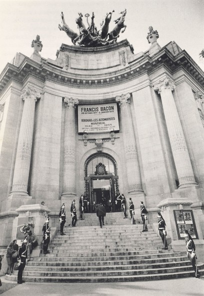 The Republican Guard on the steps to the Grand Palais at the opening of the exhibition, Francis Bacon, in Paris, 26 October 1971. Photo: André Morain
