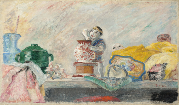 Lot 118 James Ensor (1860-1949) Nature morte au Magot-Chinoiseries, étoffes Price realised  € 2,167,500 Estimate  € 700,000 - €1,000,000