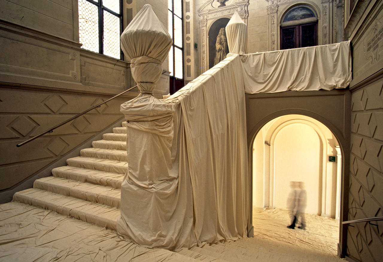 Wrapped Floors and Stairway and Covered Windows Christo