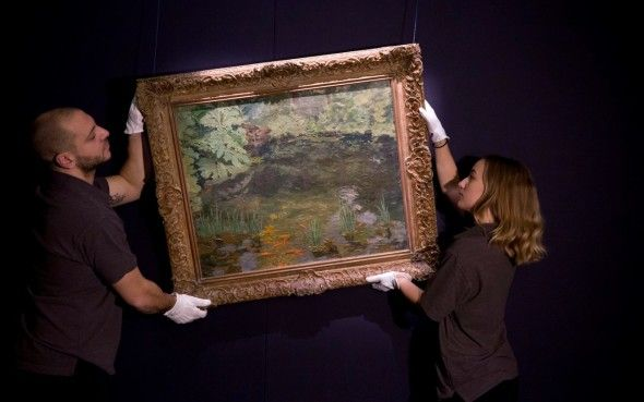 THE Goldfish Pool at Chartwell painted by Churchill is up for auction at Sotheby's in London
