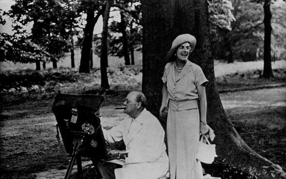 Winston Churchill and his wife at their home Chartwell  CREDIT: GETTY