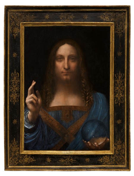 Leonardo da Vinci, Salvator Mundi. Oil on walnut panel. Panel dimensions: 25 13/16 x 17 15/16 in (65.5 x 45.1 cm) top; 17¾ in (45.6 cm) bottom; Painted image dimensions: 15⅜ x 17½ in (64.5 x 44.7 cm). Estimate on request. This work will be offered as a special lot in the Post-War and Contemporary Art Evening Sale on 15 November at Christie's in New York