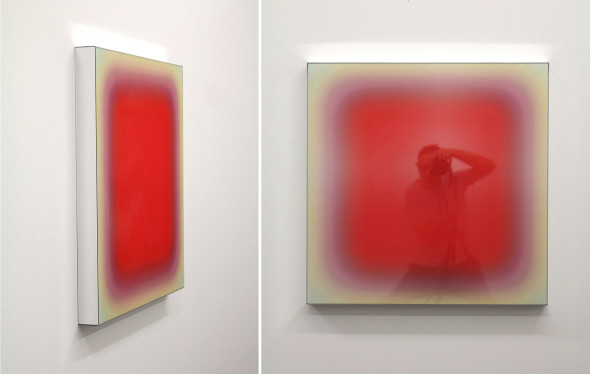 Niesche,Virtual Vibration (ruby square compound), 2017, voile and acrylic mirror 75x75x6 cm