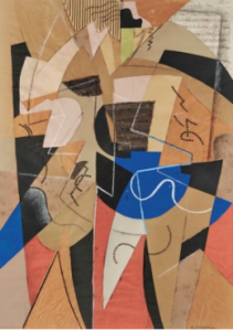 LOT 4 A Gino Severini (1883-1966) Danseuse gouache, watercolor, brush and black ink, black Conté crayon, white chalk, corrugated cardboard, sequins and paper collage on paper 40 ½ x 28 5/8 in. (102.6 x 72.7 cm.) ESTIMATE $1,000,000 - $2,000,000   PRICE REALIZED 1,452,500