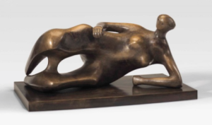 LOT 52 A Henry Moore (1898-1986) Working Model for Reclining Woman: Elbow bronze with golden brown patina Length: 36 7/8 in. (93.7 cm.) ESTIMATE $2,000,000 - $3,000,000   PRICE REALIZED 3,312,500