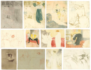 LOT 66 A Henri de Toulouse-Lautrec (1864-1901) Elles An extremely fine, uniform set On wove paper made for this publication, watermarked with the names of the artist and publisher The cover on laid Japan paper without watermark (as published) The full sheet, with fresh colours, in excellent condition Sheets and images: 20 ¾ x 15 ¾ in. (52.5 x 40.3 cm.) (and similar) (12) ESTIMATE $600,000 - $800,000   PRICE REALIZED 3,372,500
