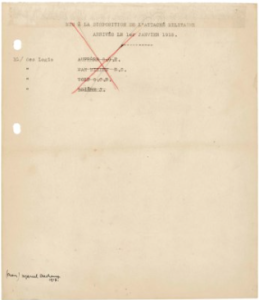 LOT 7 A Marcel Duchamp (1887-1968) French Military Paper Readymade: typed note, pen and black and red inks and pencil on paper 9 7/8 x 8 in. (25 x 21.7 cm.) ESTIMATE $400,000 - $800,000   UNSOLD