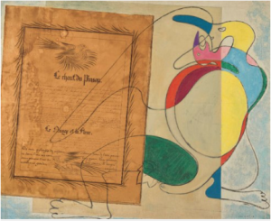 LOT 8 A Max Ernst (1891-1976) Le chant du pinson oil and paper collage with brush and pen and black ink on canvas 32 x 39 in. (81.4 x 99 cm.) ESTIMATE $600,000 - $900,000   PRICE REALIZED 972,500