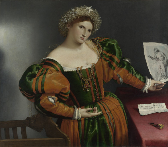 Portrait of a Woman inspired by Lucretia  Lorenzo Lotto about 1530-2 © The National Gallery, London