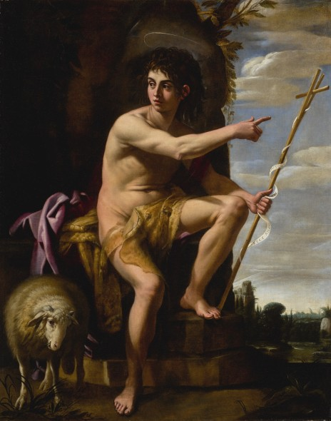 Giovanni Baglione ROME CIRCA 1566 - 1643 (?) SAINT JOHN THE BAPTIST IN THE WILDERNESS signed and dated, center left: EQ IO. / BALGIONVS / .R.P.1610 oil on canvas 76 3/8 by 59 1/2 in.; 194 by 151 cm.