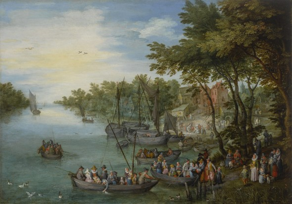 Old master Sotheby's Jan Brueghel the Elder, A Wooded River Landscape with a Landing Stage, Boats, Various Figures and a Village Beyond, 1614. Estimate $2,500,000–3,500,000.