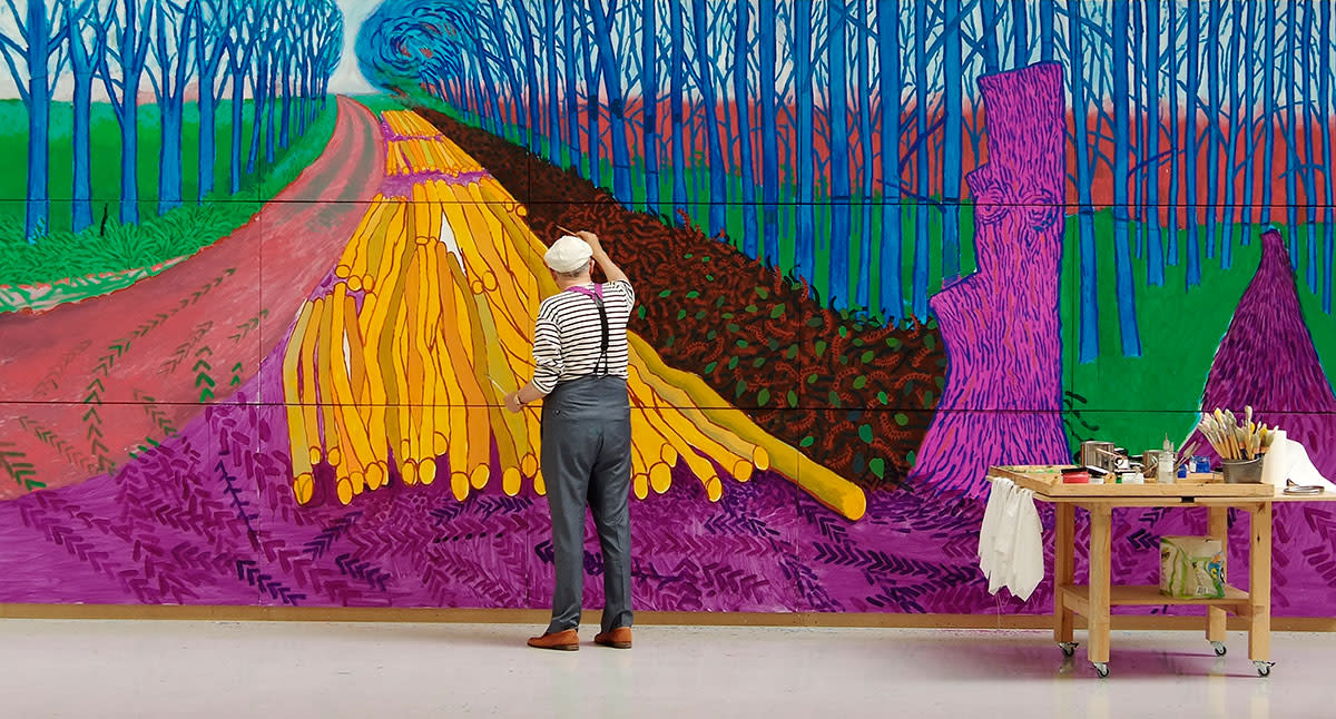 "David Hockney Painting ""Winter Timber"" in Bridlington, July 2009 © David Hockney Photo Credit: Jean-Pierre Gonçalves de Lima"