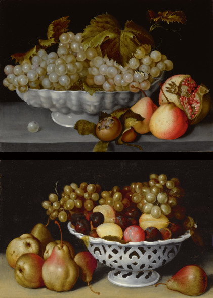 Old master Sotheby's Fede Galizia MILAN 1578 - 1630 A STILL LIFE OF A PORCELAIN BOWL OF GRAPES ON A STONE LEDGE WITH A MEDLAR, QUINCES, A POMEGRANATE AND A WASP; A STILL LIFE OF A PORCELAIN BASKET OF PLUMS AND GRAPES ON A STONE LEDGE WITH PEARS Quantity: 2 a pair, both oil on panel each: 10 3/4 by 15 1/4 in.; 27.3 by 38.7 cm.