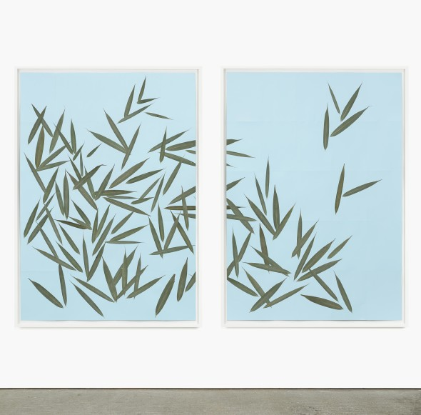 Alek O, Victor, 2017, pressed leaves on paper , 155 (h) x 112 (w) x 5,5 (d) cm each, photo by Andrea Rossetti, courtesy Gallery Frutta, Rome