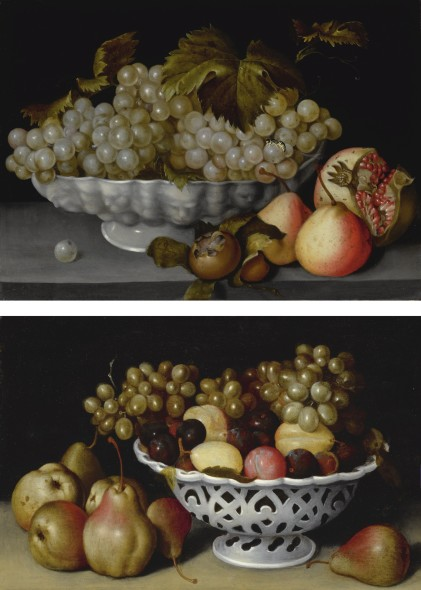 Fede Galizia A STILL LIFE OF A PORCELAIN BOWL OF GRAPES ON A STONE LEDGE WITH A MEDLAR, QUINCES, A POMEGRANATE AND A WASP; A STILL LIFE OF A PORCELAIN BASKET OF PLUMS AND GRAPES ON A STONE LEDGE WITH PEARS Estimate  2,000,000 — 3,000,000  USD  LOT SOLD. 2,055,000 USD