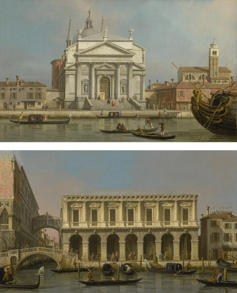 Giovanni Antonio Canal, called Canaletto VENICE, THE CHURCHES OF THE REDENTORE AND SAN GIACOMO; VENICE, THE PRISONS AND THE BRIDGE OF SIGHS, LOOKING NORTHWEST FROM THE BALCONY Estimate     3,000,000 — 4,000,000  USD  LOT SOLD. 4,179,500 USD