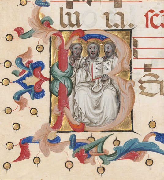 Initial B: The Trinity, about 1392-1402, Niccolò da Bologna, from the Gradual of Niccolò di Lazzara for Santo Spirito in Farneta (Lucca). Tempera colors and gold leaf on parchment, 14 x 12 in. The J. Paul Getty Museum, Ms. 115 (2017.122.1), leaf 1. Gift of Elizabeth J. Ferrell