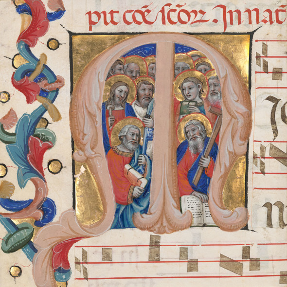 Initial M: The Apostles, about 1392–1402, Niccolò da Bologna, from the Gradual of Niccolò di Lazzara for Santo Spirito in Farneta (Lucca). Tempera colors and gold leaf on parchment, 14 x 12 in. The J. Paul Getty Museum, Ms. 115 (2017.122.6), leaf 6. Gift of Elizabeth J. Ferrell