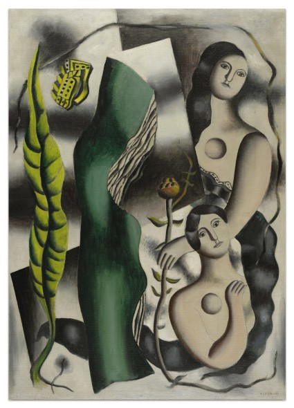 Sotheby's Fernand Léger 1881 - 1955 LA CARTE POSTALE signed F. LEGER and dated 30 (lower right); signed F. LEGER, dated 29 and titled LA CARTE-POSTALE (on the reverse) oil on canvas 92 x 65 cm; 36 1/4 x 25 5/8 in. Painted in 1930.