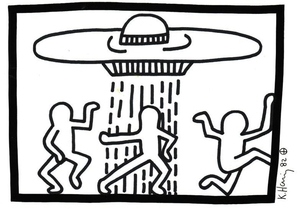 haring- dancing-men-and-the-ufo-a-drawing-of-3-dancing-men-with-a-ufo-hovering-above-them-normal